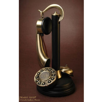 Antique-Style Brass Candlestick Phone with Bell